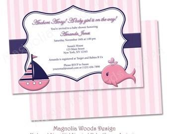 Girls Baby Shower Invitation, Nautical Baby Shower Invitation, Pink and Navy Girl Nautical Baby Shower Invitation - Printable Digital File