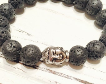 Silver Buddha Lava Rock Mens or Womens, Unisex Bracelet, Gift for Dad, Gifts for Men