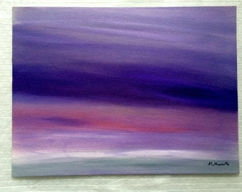 SALE Purple abstract painting, original abstract acrylic painting abstract art modern painting purple violet 16 x 12 inch