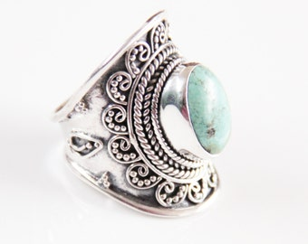 Sterling Silver Rings, Personalized Jewelry, Turquoise Jewelry, Boho Rings, Boho Jewelry, Boho Chic, Statement Rings, Don Biu