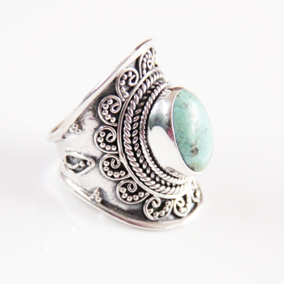 Turquoise Ring, Personalized Jewelry, Turquoise Jewelry, Sterling Silver RIng, Boho Rings, Boho Jewelry, Boho Chic, Statement Rings, Don Biu
