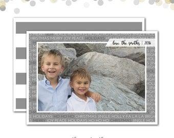 Christmas Card, Photo Card, Merry Christmas Card, Gray Stripes, Modern Christmas Card, Typography Christmas Card, Printed or Printable