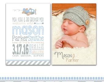 Baby Boy Birth Announcement, Birth Announcement Boy, Airplane, Airplane Birth Announcement, Printable or Printed