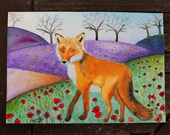 Original Watercolor, Watercolor Fox, Fox Painting, Fox Illustration, Wildlife Art, Animal Painting, Nature, Flowers, Poppy, Hills, Country