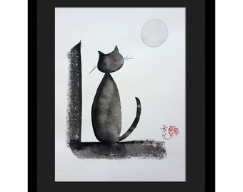 Sumi-e Cat - original painting-Tomorrow Will Be A Better Day