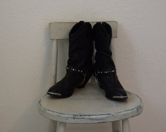 Black Leather Cowgirl / Grunge / Motorcycle Ankle / Mid Calf Boots with Silver Toe Rands and Chain - Women's 7