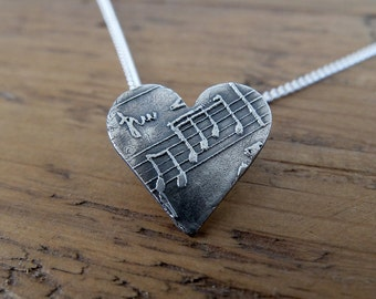 Music Note Heart Necklace. Necklace for Musician, Gift for Music Lover, Music Gift, Music Charm, Silver Heart with Sheet Music,Romantic Gift