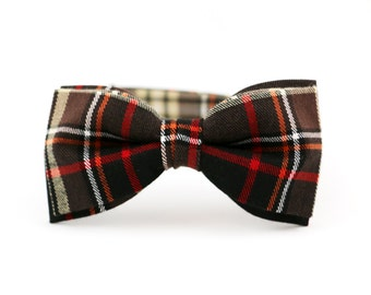Brown bow tie plaid bow tie for men tartan bowtie wool bow tie christmas gift autumn bowties red adjustable bow tie mens birthday gift