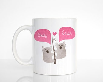 KOALA Mug, Animal Couple Mug, Custom Mug, Engagement Gift, Unique Coffee Mug, Personalized Mug, Coffee Cup, Animal Mug, Cute Mug