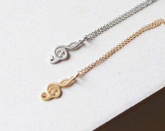 G-clef , treble clef Bracelet Unisex Music lovers Necklace