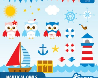 Nautical Owls Clipart Set & Digital Paper - Instant Download - PNG Files.