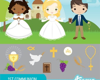 1st Communion Clipart Set - Instant Download - PNG Files.