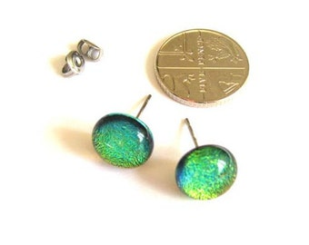 Gold stud earrings - Fused dichroic glass tiny round earrings, for her birthday or as a gift, elegant post earrings, two tone studs ER207
