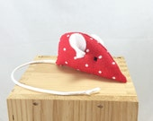 Cat toy, Polkadot Valentine mouse, plush cat toy, red white mouse