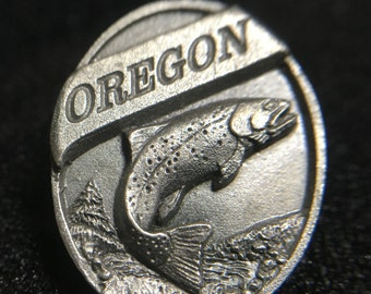 "1990s ""Oregon Salmon"" Siskiyou Pewter Pin (Made in USA)"