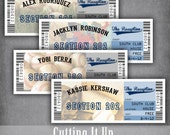 Baseball Ticket Escort Cards, Seating Cards, Baseball Wedding Tickets, Baseball Reception, Sports Themed, DIY Template, Los Angeles Dodgers