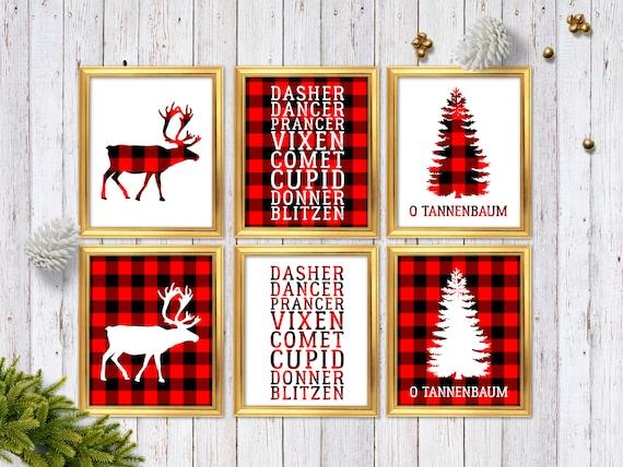 Xmas Wall Decoration Ideas: Buffalo Plaid Christmas Decor Red Plaid Christmas Decoration