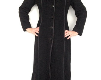 Vintage black Coat with a faux fur collar by Hammond Collection Long coat Winter autumn Maxi coat