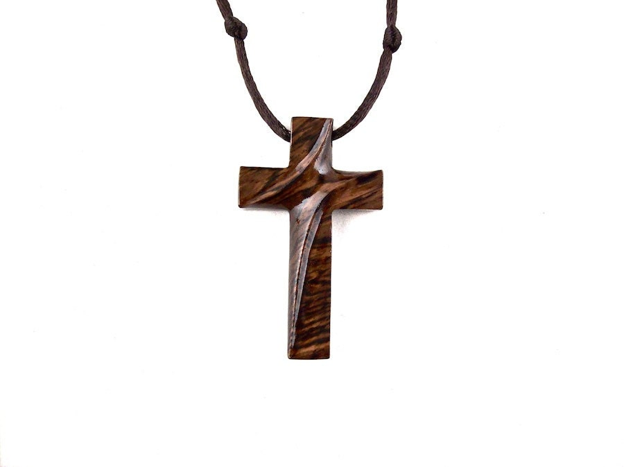 Wood Cross Necklace Wooden Cross Pendant Christian Jewelry
