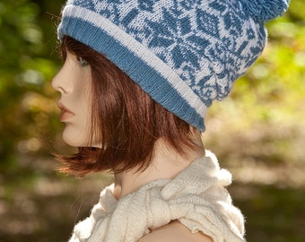 Hand knitted fair isle hat, with pom pom, slouchy hat, Norwegian, jacquard hat, blue and white, woolen, winter, Nordic, Norway, beanie.