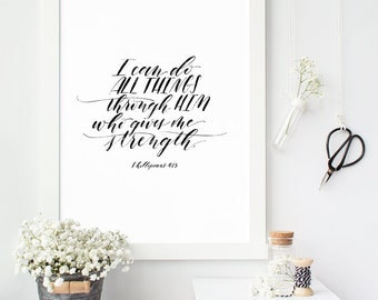 Philippians 4:13 Art Print, Bible Verse Wall Quote, Inspirational Typography, I Can Do All Things, Modern Calligraphy Print, Scripture Art
