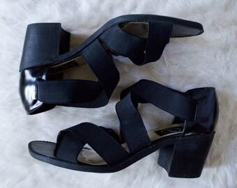 maxine 90s stretch sandal / block heel sandals / 9.5 - 41 / minimalist sandal / stretchy sandals / strappy black sandal / gladiator