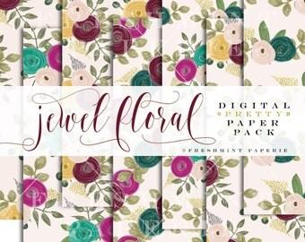 watercolor floral digital paper  - watercolor paper - digital floral paper pack -flowers digital paper pack  - freshmint paperie