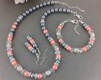 Coral and Grey Jewelry Set, Grey and Coral Bracelet, Grey Necklace, Bridesmaids Bracelet, Wedding, Jewelry, Bracelet, Necklace, Earrings