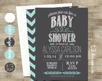 BABY BOY Baby Shower Invitation, baby shower invite, modern baby shower,simple, elegant, baby,aqua, front and back, 1034