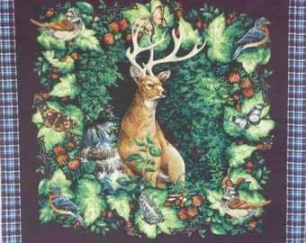 Deer and house pillow panels