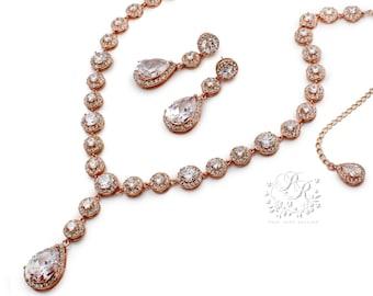 Wedding Necklace Wedding Earrings Rose Gold plated Zirconia Rhinestone Bridal Necklace Bridal Earrings Wedding Jewelry Bridal Jewelry Tvis