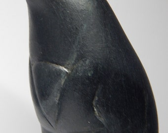 Inuit Eskimo Art Soapstone Carving: JUMPING SEAL, 7x3x2, Davidee A