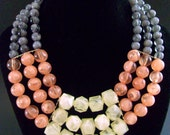 Acrylic/Lucite Peach White Grey Necklace, 3 Triple Strand, Marbleized Beads, Vintage