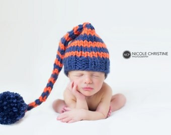 Orange and Blue Striped Elf  Baby Hat Size Newborn to 12 months  Knitted Baby Hat  Photo Prop Back Yellow