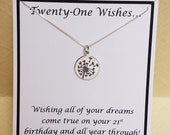 Twenty One Wishes Sterling Silver Dandelion Necklace 21st Birthday Gift Keepsake