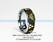 Top Quality Tungsten 8MM Tri - Colored Ring, 18k GOLD GP Legend Of Zelda
