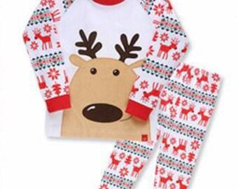 kids Christmas Pattern pajamas -Rudolph / PJs / Pajamas for kids / toddler size 12M-7