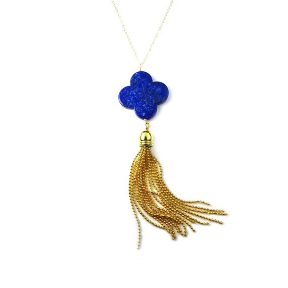 Long Gold Tassel Necklace, Lapis Necklace, Gold Tassel, Gold Necklace, Gold Clover Necklace, Long Boho Necklace, Long Necklace, Long Gold