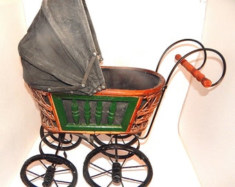 Victorian Doll Carriage German Style Pram Antique 1920's Baby Buggy Girls Toy Doll Stroller Doll Accessory Display