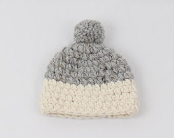 Kids Chunky Knit Hat with Pom-Pom Two-Tone Toddler Hat Baby Hat | THE Little OSLO