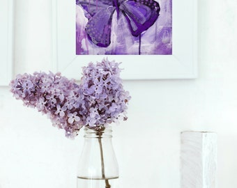 butterfly painting - violet print - purple Giclee' - FREE US SHIPPING