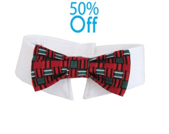 On Sale! Dog/Cat red and green check necktie/bowtie on a shirt style collar