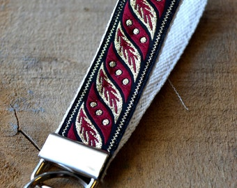 Black and Red Trim Keychain