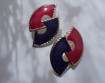 Vintage Large Mauve Pink and Navy Blue Abstract Post Earrings  2445