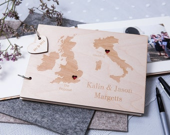 Personalised Duo Destination Wedding Guest Book - Map Guest Book - Wooden Guest Book - Travel Wedding - Destination Map - Couples Gift