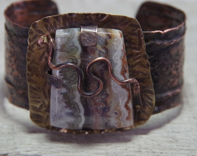 Mixed metals rustic copper cuff with Crazy Lace agate stone, copper bracelet, metal work, boho, unisex