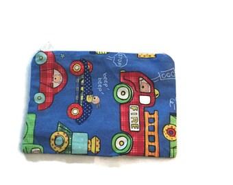 Reusable Snack Bag Zipper Blue Cars Trucks