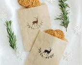 "Kraft Paper Bags - Christmas Holiday Modern Deer Design - 5"" x 7"" FDA Kraft bags"