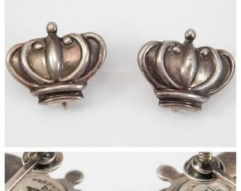 Margot De Taxco Crown Earrings Mexican Silver
