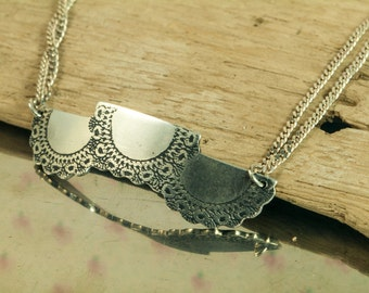 Necklace Pendant Lace doily Crochet Sterling Silver Oxidized textured engraving etching, hand cut , jewelry